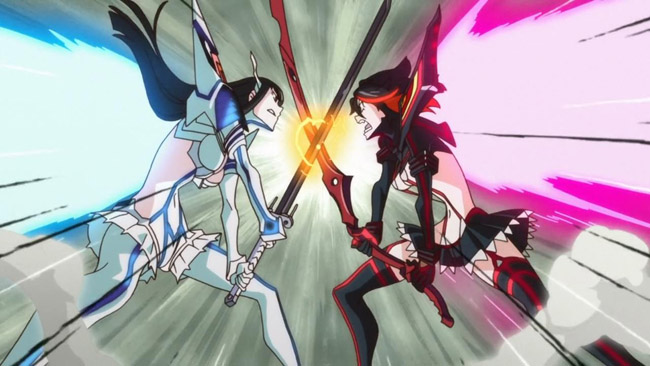 Ryuko and Satsuki crossing blades in their powered up forms