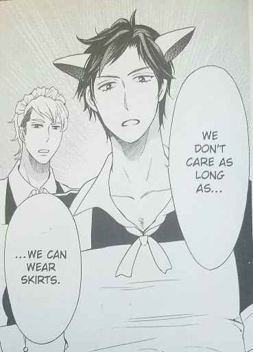 "Two muscular boys in maids' uniforms and cat ears say ""We don't care as long as we can wear skirts."""