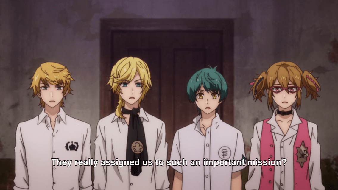 "Four young men with varying hair colors and styles stand in a line. Subtitles read ""They really assigned us such an important mission?"""