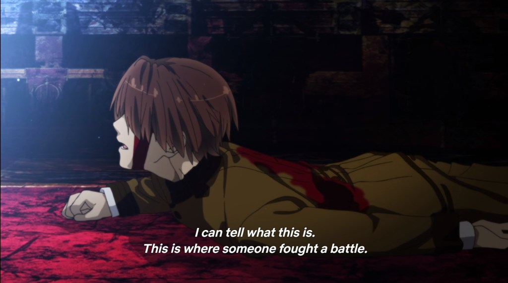 "A boy in a school uniform is lying on the ground and bleeding. Subtitles read ""I can tell what this is. This is where someone fought a battle."""