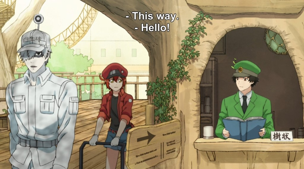 "A uniformed man all in white and a woman dressed in red walk past a rustic booth where an attendant sits, reading a book. Subtitles read ""This way"" and ""Hello!"""