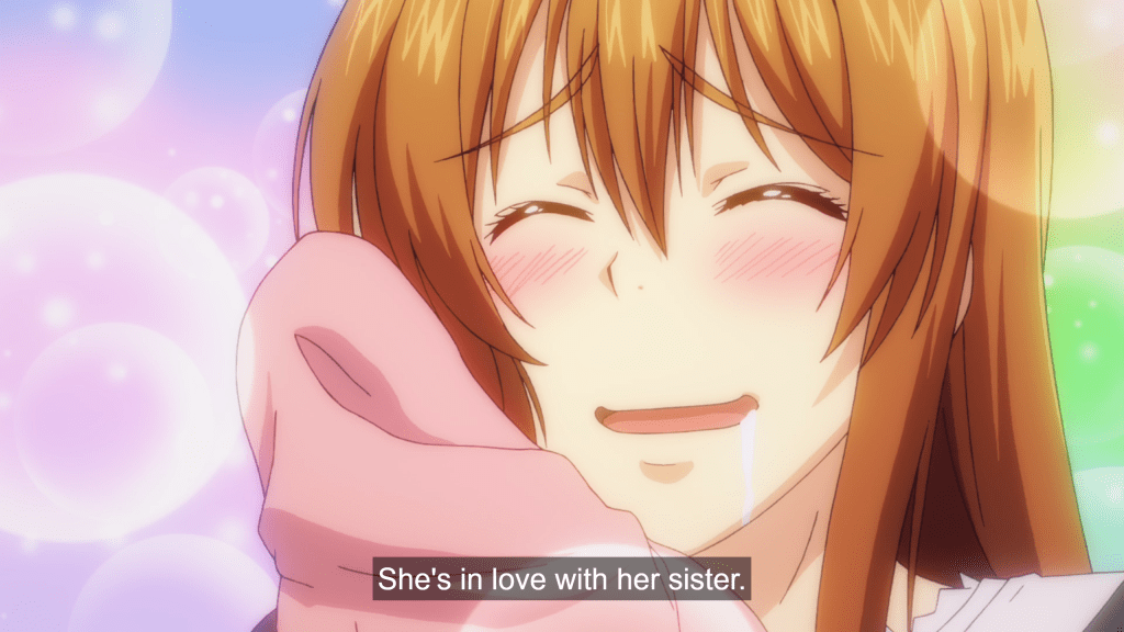 "A young woman presses a shirt to her cheek, smiling and blushing with sparkles around her. Subtitles read: ""She's in love with her sister."""