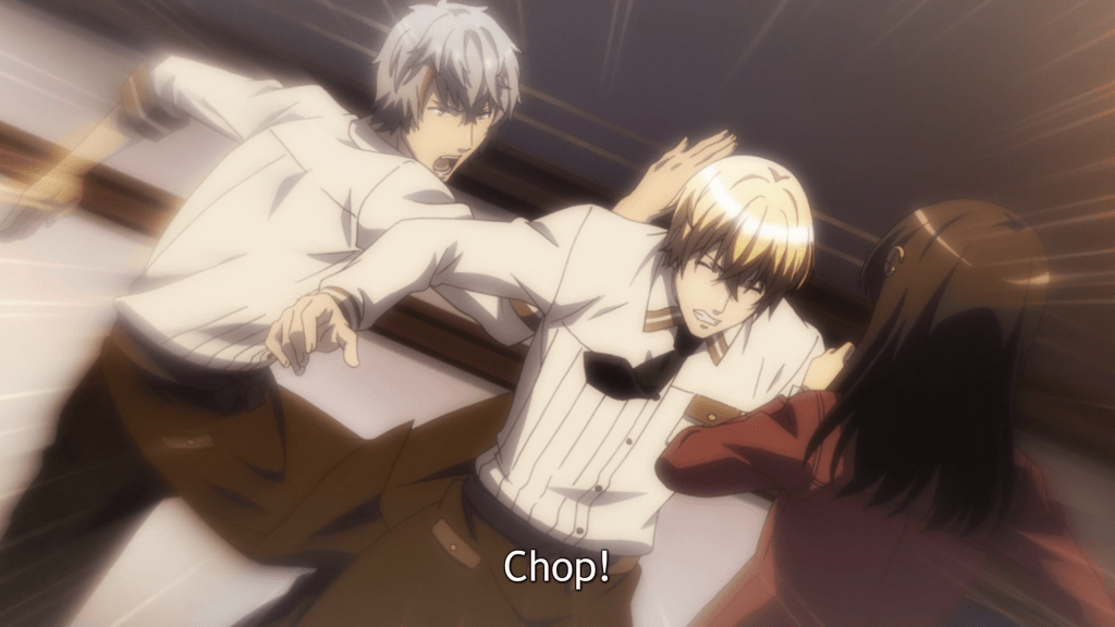 """Luke jumps up behind Vlad, who is standing very close to Ton, and whacks him in the back of the head. The subtitles read """"Chop!"""""""