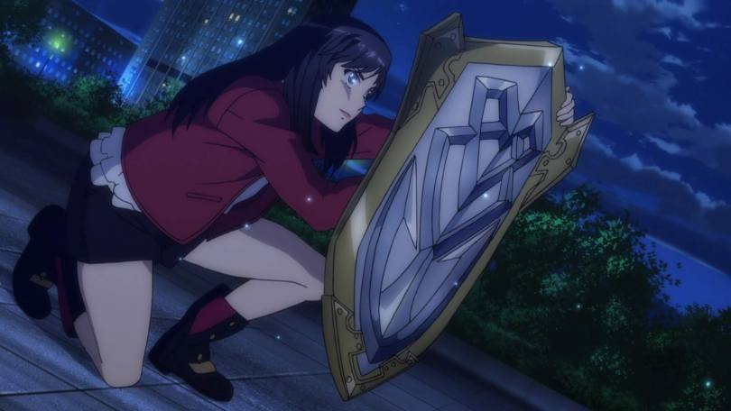 A young woman in a red jacket crouches behind a large, ornate steel shield, looking determined.