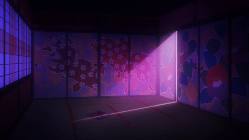 A darkened empty room with sliding screen doors. The doors have abstract paintings of goldfish on them, each fish painted a different reddish or orange huge with a white flower pattern atop that. Pink light shines through a gap in the panels, falling on a small pillow-like object in the center of the room.