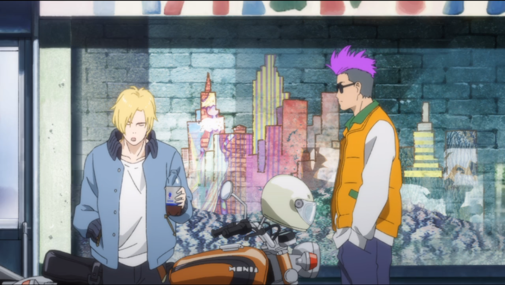 Ash talking to his contact Shorter in front of a graffiti mural of New York's skyline