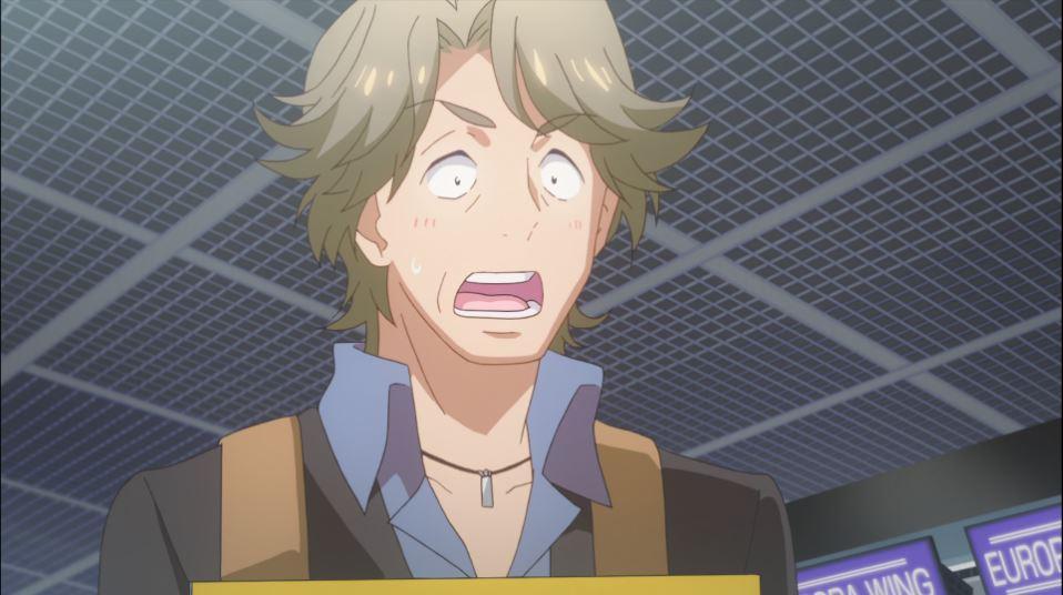 Ikehara blushing with his mouth agape