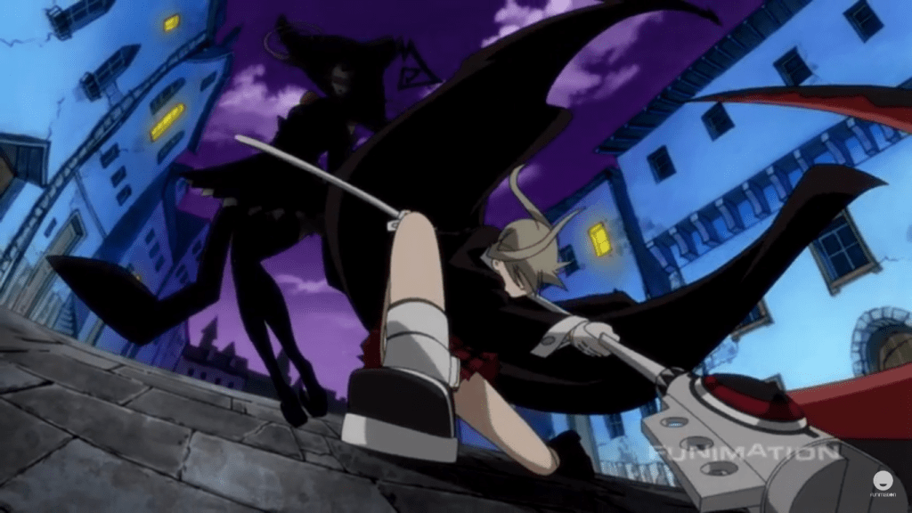 Maka on one knee in the foreground after having completed slicing Blair in half