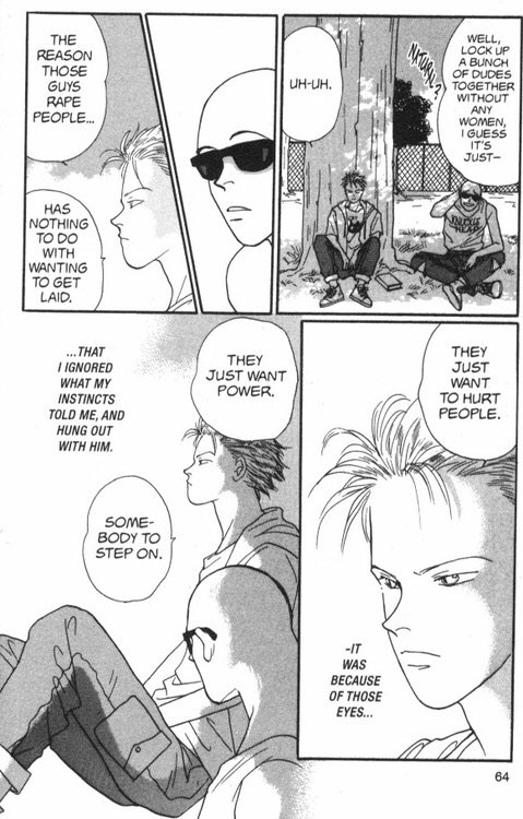 Manga panel of Ash and Shorter discussing Ash's past. Ash insists rape is about power, not attraction