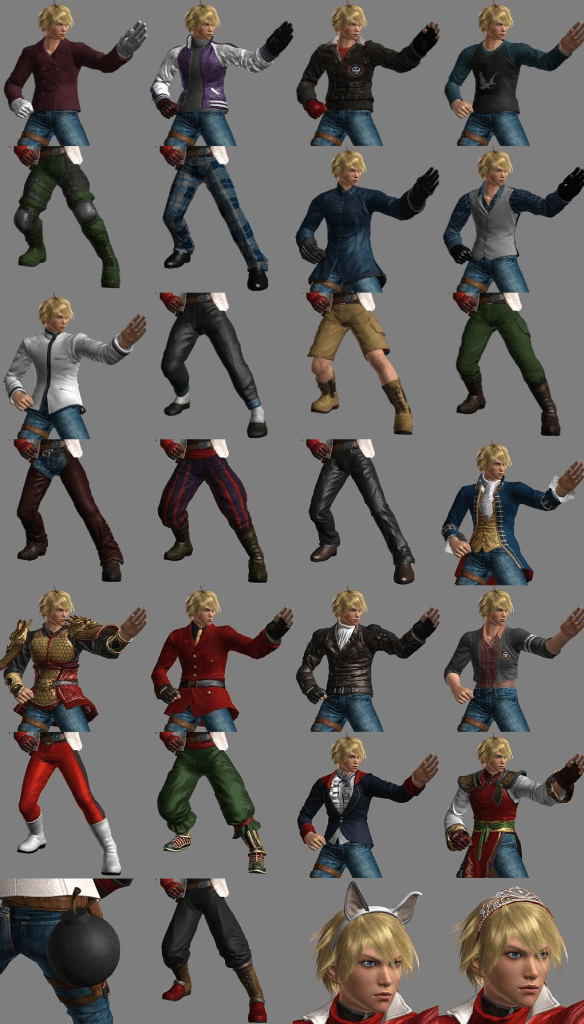 A comparative chart of Leo's various sprites