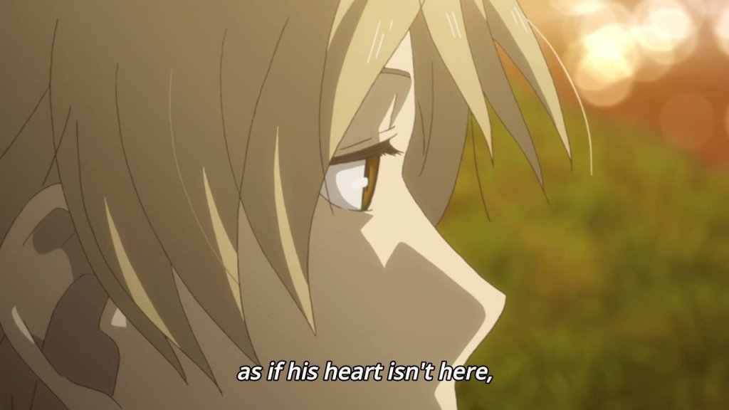 """A closeup of Natsume's eyes, looking distant. Subtitles read """"as if his heart isn't there."""""""