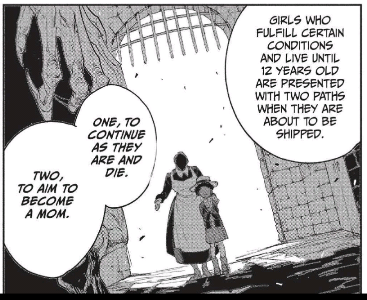 "A manga panel showing a young Krone standing next to an older woman, her face in shadow, as the two stand inside a gated archway. The text explains that some girls have two options ""One, continue as they are and die. Two, to aim to become a Mom."""