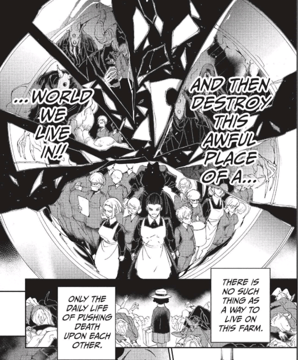 "A manga page. On top is a shattered image filled with people and looming monsters. Text reads ""And then destroy this awful place of a world we live in!!"" On the bottom is a young Black girl shown from behind. Text reads ""There's no way to live on the farm. Only the daily life of pushing death on each other."""