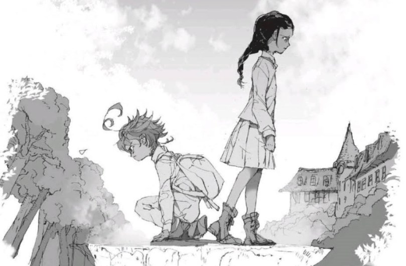 A black-and-white sketch of two girls (Emma and a young Isabella) back to back. Emma is crouched and looking determined; Isabella is standing and looking sad.