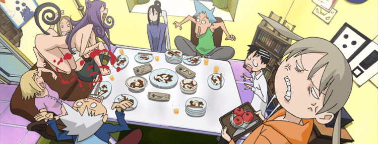 The Soul Eater cast sits around a table. Maka is in the foreground looking furious. In the background, a naked Blair is in a cat pose on one side of the table. Everyone looks shocked, except Soul, who falls over backwards with blood spurting out of his nose.