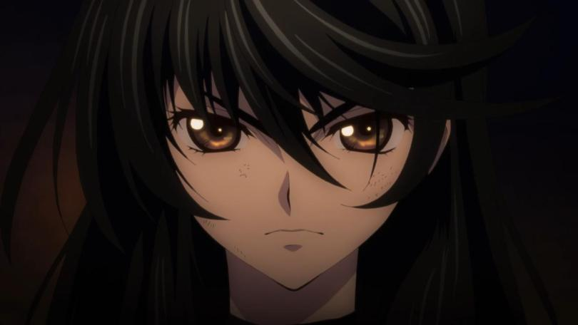 close-up of Velvet looking serious