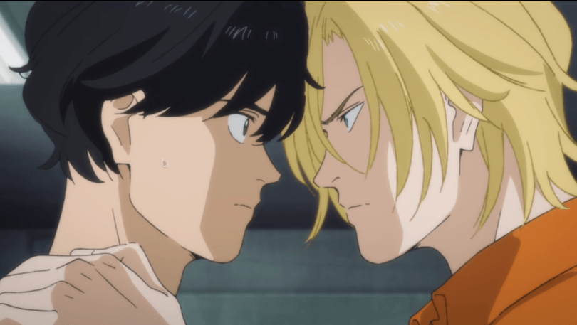 Ash and Eiji staring into each other's eyes with their foreheads touching