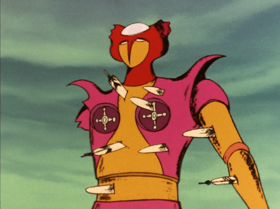 A shot of the giant robot Aphrodite, it's pink and yellow with panels that approximate breasts
