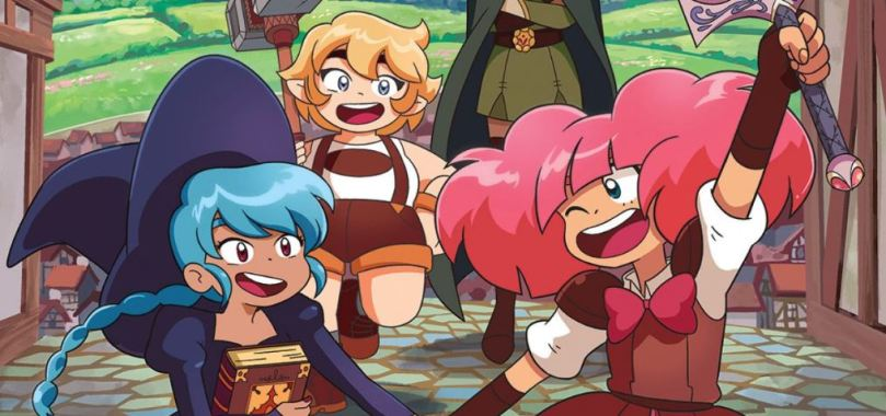 The three young magical girl leads of High Guardian Spice