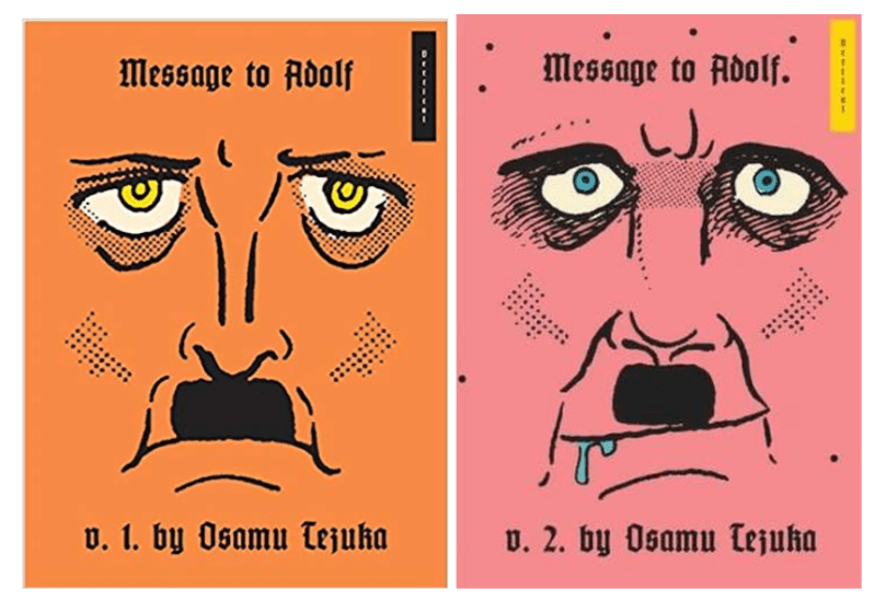 "The manga covers for ""Message to Adolf"" Volumes 1 and 2 by Osamu Tezuka"