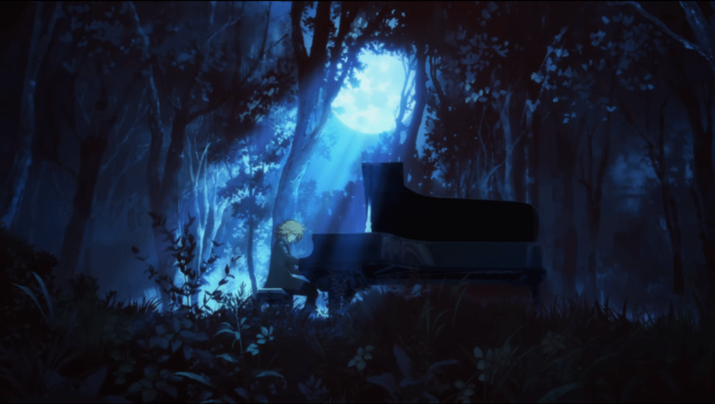 Adult Kai playing piano imagining himself to be in the forest at night