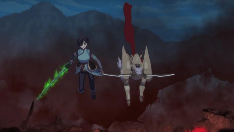 A CG girl and mech dog walking on a battlefield