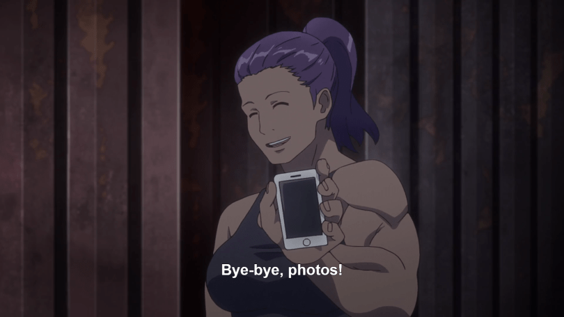 "A buff woman in a workout top smiles and holds up a smartphone. She says ""Bye-bye, photos!"""