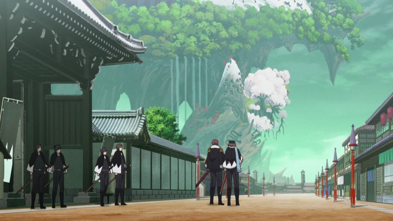 Scenery of a fantastical Japan, with traditional buildings in the foreground and a looming forest in the background