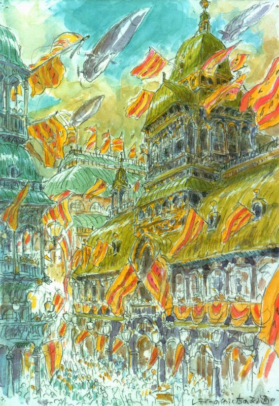 A piece of watercolor concept art of a military parade