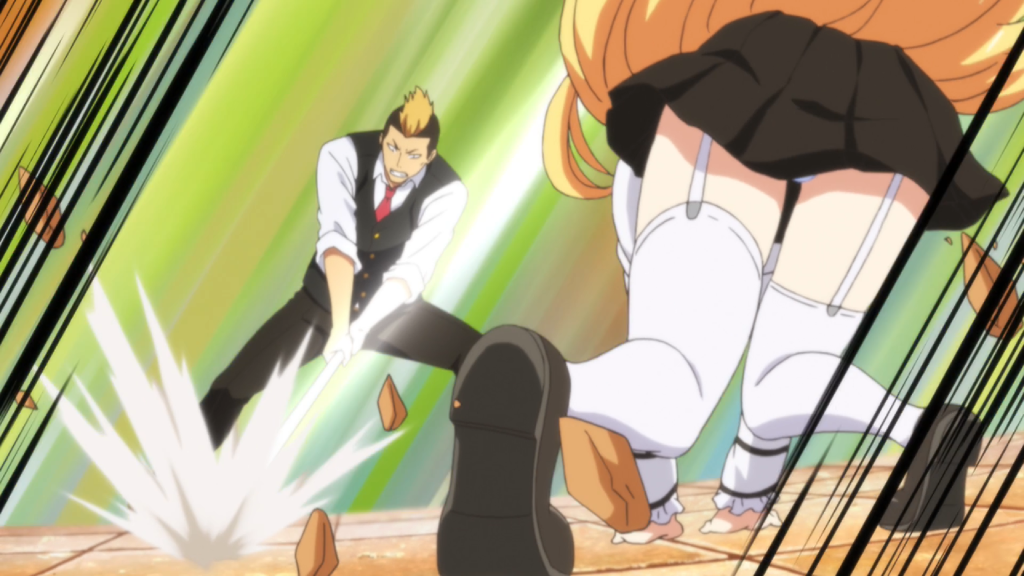 Juliet shown from behind, crouched, her butt and legs in focus. Her skirt covers her underwear, barely. In front of her and facing the camera, a boy in a school uniform slams some kind of long object into the ground.