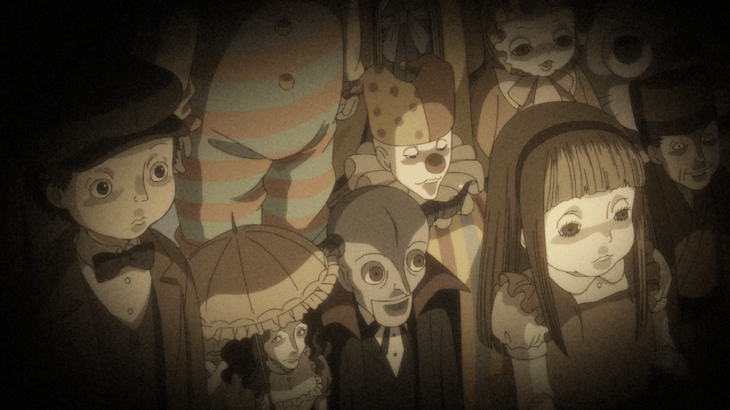 A sepia-toned image of a variety of old-fashioned dolls staring lifelessly forward.