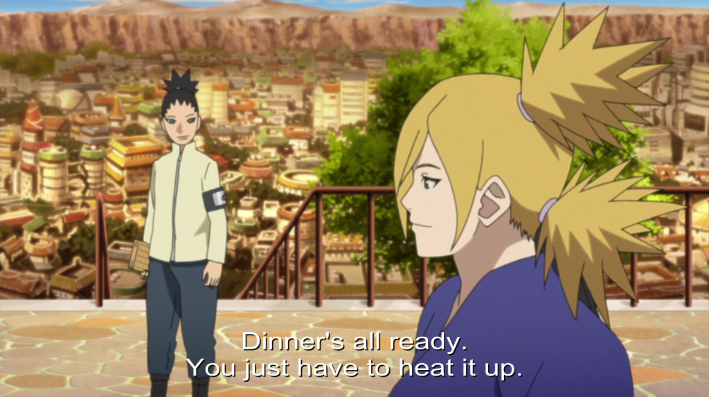 """Temari looks at Shikadai and says """"Dinner's all ready. You just have to heat it up."""""""