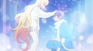 Beelzebub patting a kneeling Mullin on the head, surrounded by sparkles