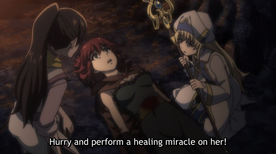 Healer crouched over a fellow party member with a stab wound. subtitle: Hurry and perform a healing miracle on her!
