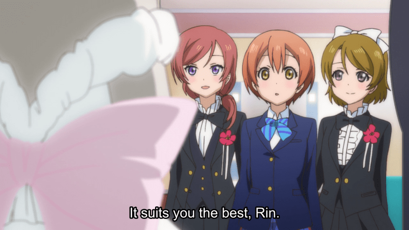 Three of the girls staring at the dress on a mannequin. subtitle: It suits you the best, Rin.