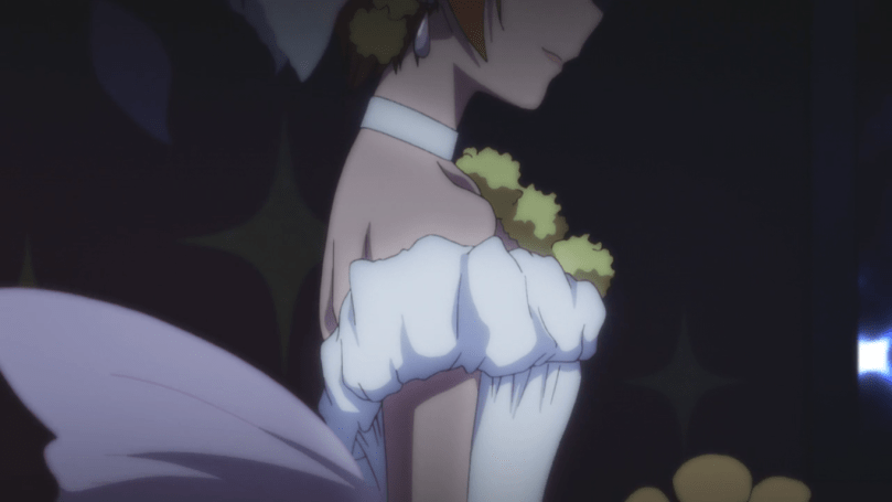 Rin smiling in a wedding dress, her eyes outside the frame