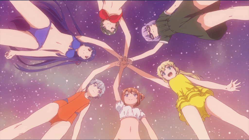From below shot of the girls putting their hands together while wearing swimsuits