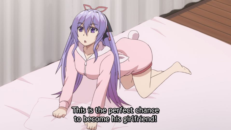 A girl on her hands and knees on her bed. subtitle: This is the perfect chance to become his girlfriend!