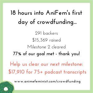 "Image of text in AniFem branded colours saying: ""18 hours into AniFem's first day of crowdfunding... 231 backers. $15,369 raised. Milestone 2 cleared. 77% of our goal raised - thank you! Help us clear our next milestone: $17,910 for 75+ podcast transcripts. www.animefeminist.com/crowdfunding."""