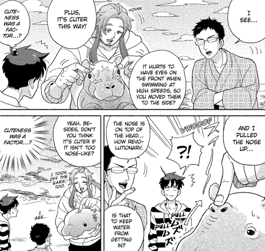 "Manga panels of Neptune explaining how he came up with the design for the dolphin. He keeps talking about how it looks ""cuter this way,"" and a sweat-dropping Shimoda keeps noting ""So cuteness was a factor, huh...?"""