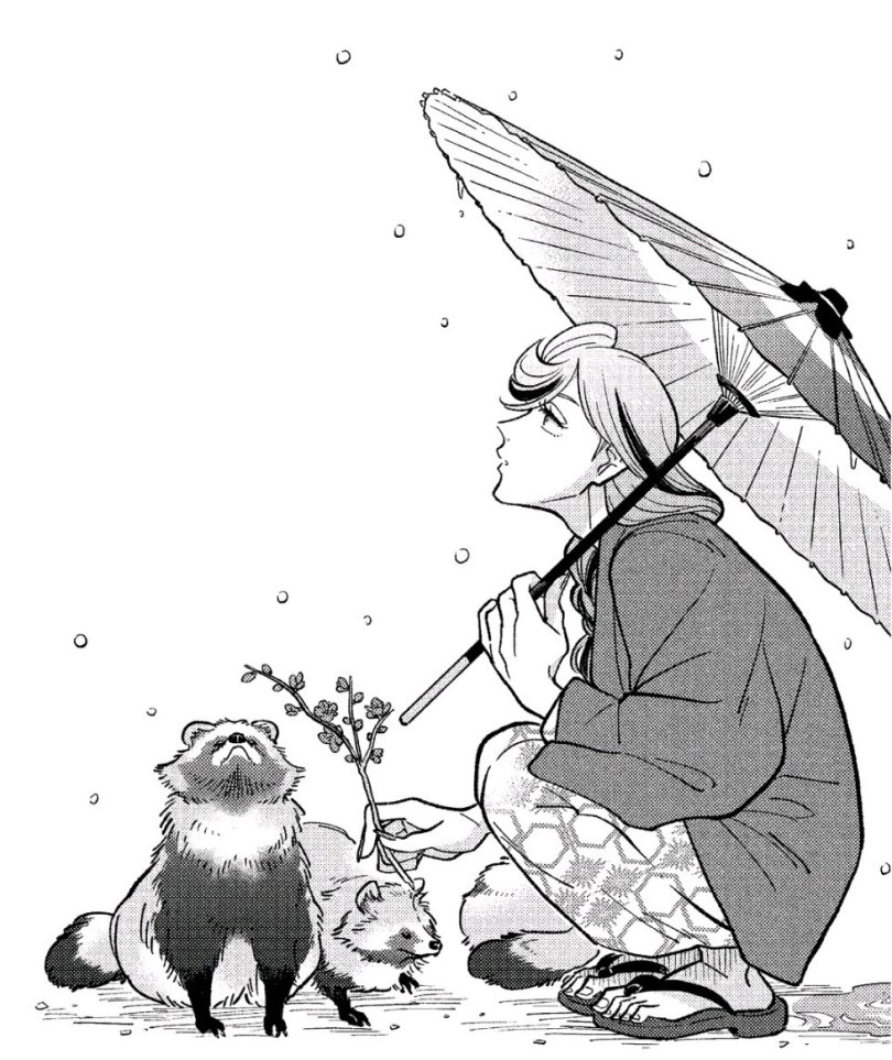 Venus wearing a yukata and holding an umbrella, sitting next to a tanuki and looking up as it begins to snow