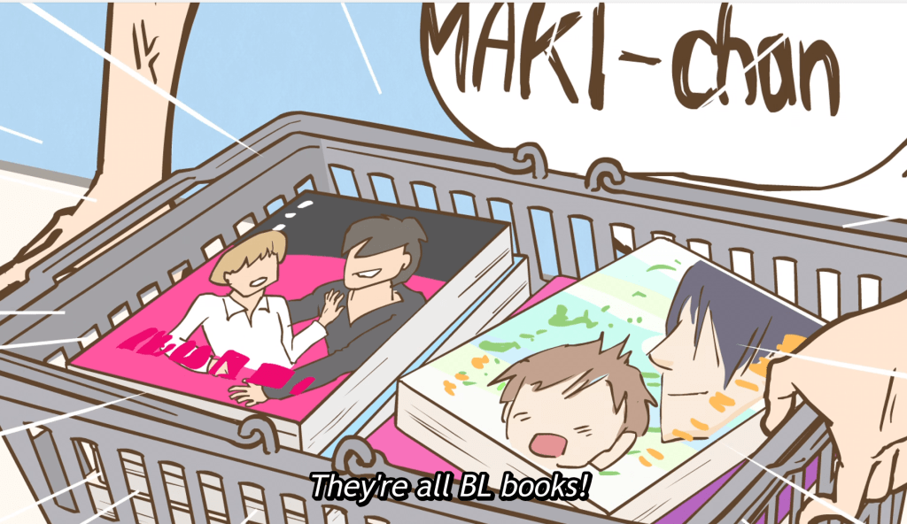 """A cart full of books featuring two young men on the covers. Subtitles read """"They're all BL books!"""""""
