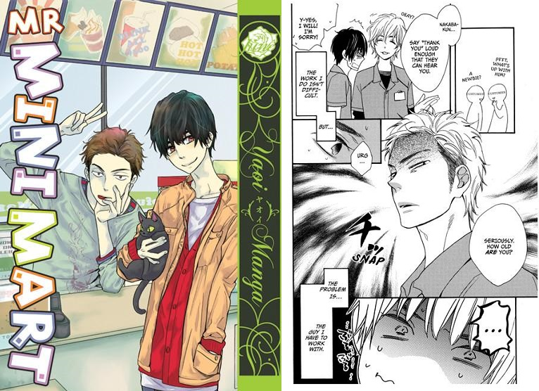The cover with the two leads beside the counter at their job and a page of the protagonist describing the cold, jerkish guy he works with