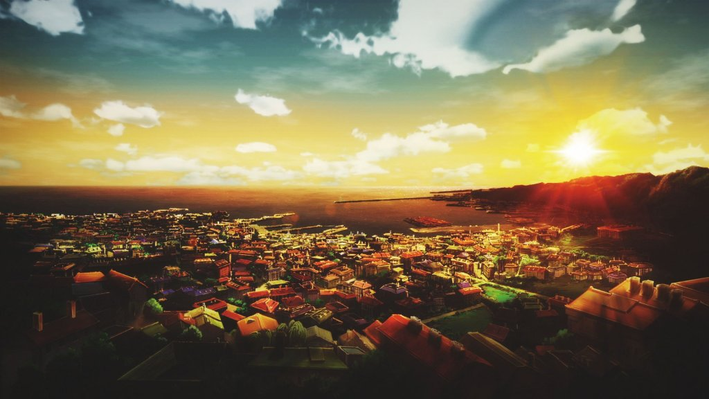 Screenshot from Violet Evergarden. A beautiful urban landscape by the sea, with the sun rising over the cliffs in the distance, in a blue sky with fluffy white clouds.