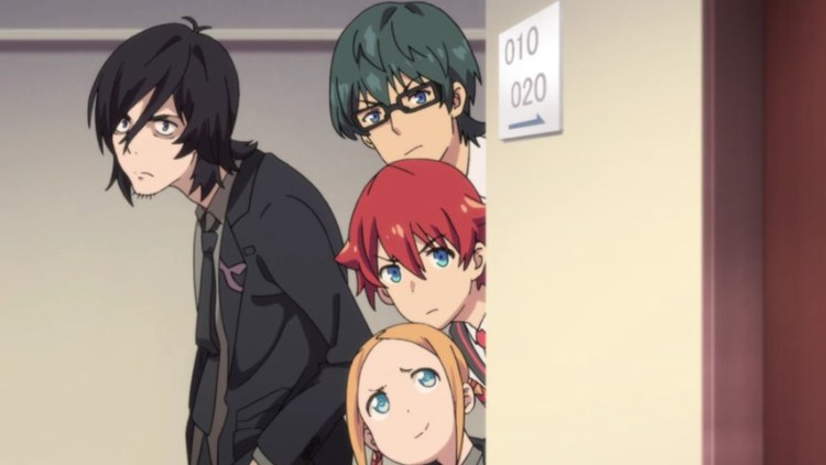 Gridman screenshot. Three teen boys peek around a corner while a slouched man in a suit stands behind him.