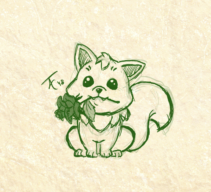 Drawing of a cute fox sitting with a rose in its mouth.