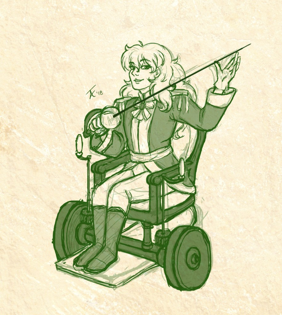 Drawing of a blonde prince character, sitting in a historical wheelchair and holding a fencing sword, Rose of Versailles style.