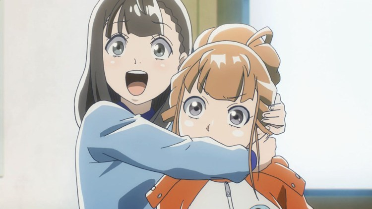 A teen girl hugging another around the neck. The one being hugged looks a bit confused.