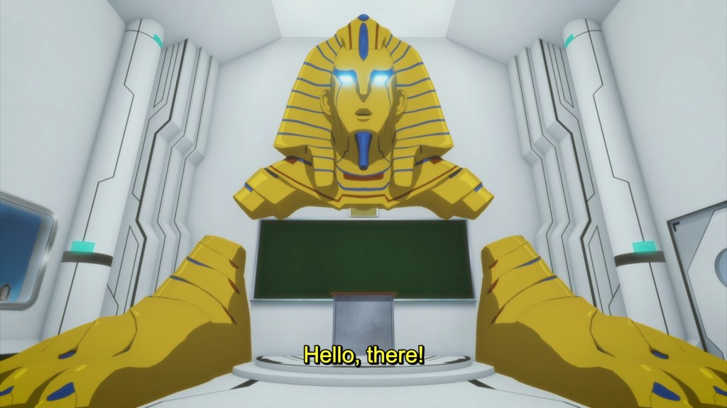 "A big golden Egyptian sphinx protudes from a classroom wall in a 3D rendered classroom. He says: ""Hello, there!"""