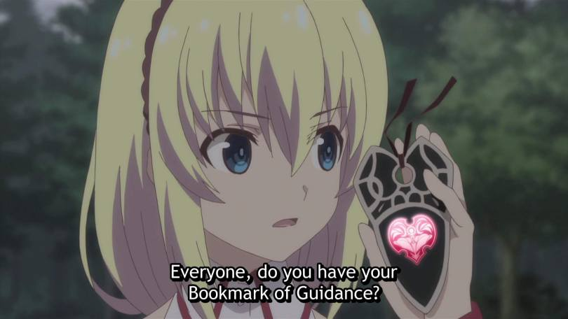 "A young blonde woman holds up a black bookmark with a glowing pink heart gem and says ""Everyone, do you have your bookmarks of guidance?"""